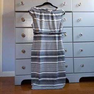 Striped Sheath Dress and Belt